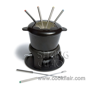 Black Enameled Cast Iron Fondue Set
