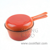 Orange Enameled Cast Iron Combo Stewing Pot