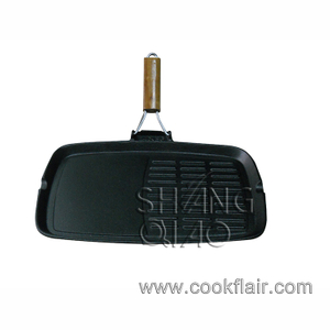 Cast Iron Griddle Pan with Folded Wood Handle