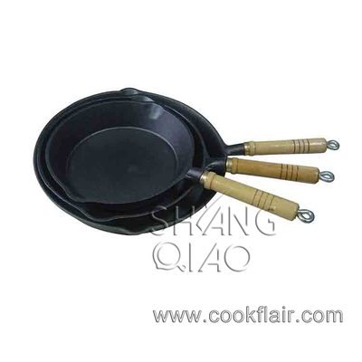 Pre-seasoned Cast Iron Fry Pan with Wooden Handle