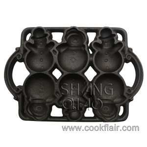 Cast Iron Snowman Shaped Cake Pan