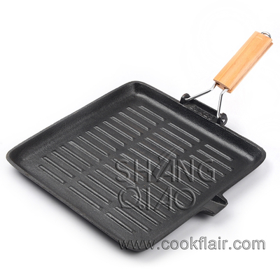 Cast Iron Square Grill Pan with Folding Handle