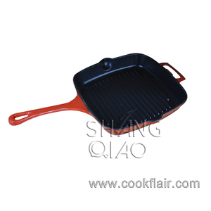 Orange Enameled Cast Iron Grill Pan with Long Handle